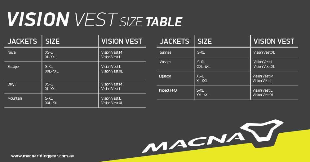 Macna Size Chart Vision Vest
