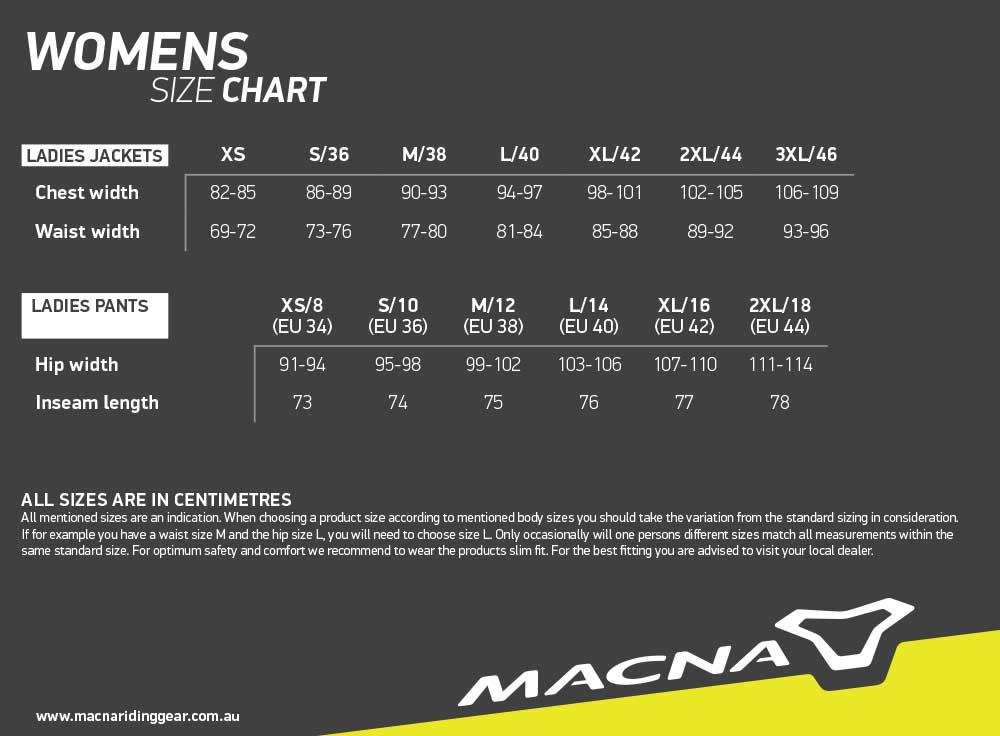 Macna Size Chart Womens